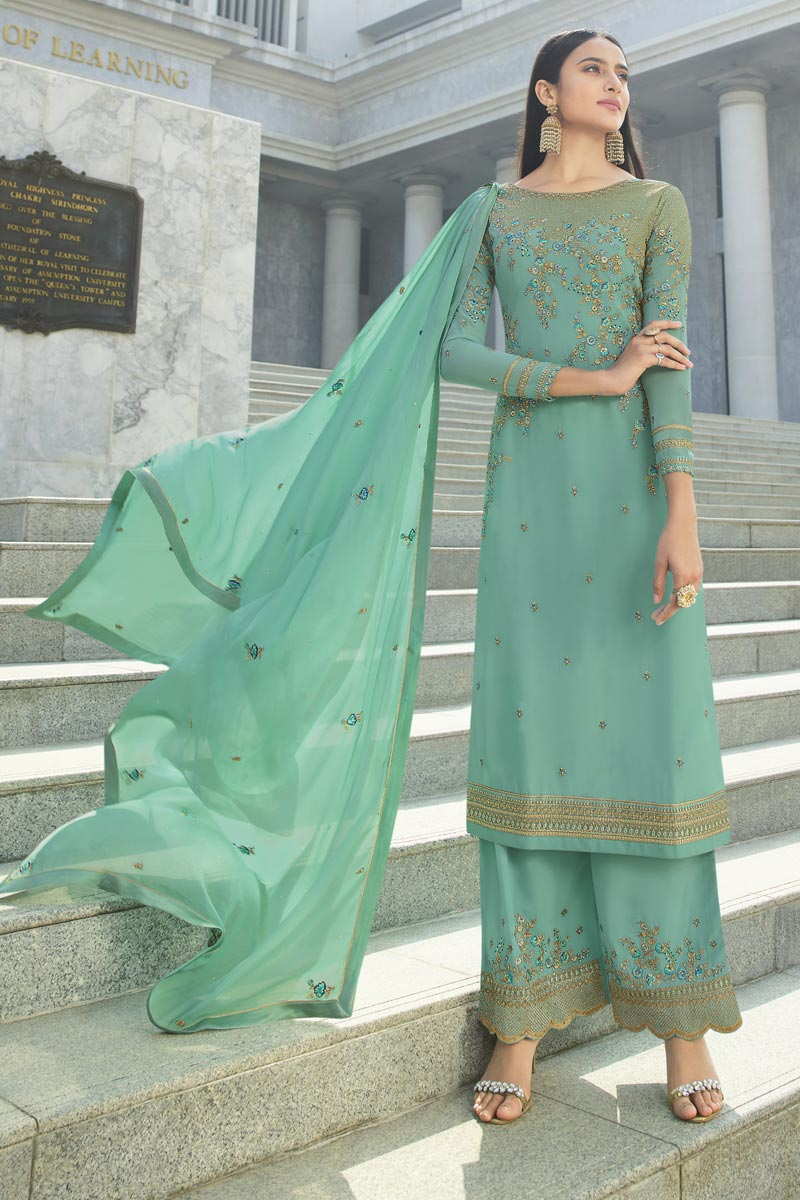 Chic Georgette Fabric Reception Wear Sea Green Color Embroidered Palazzo Suit