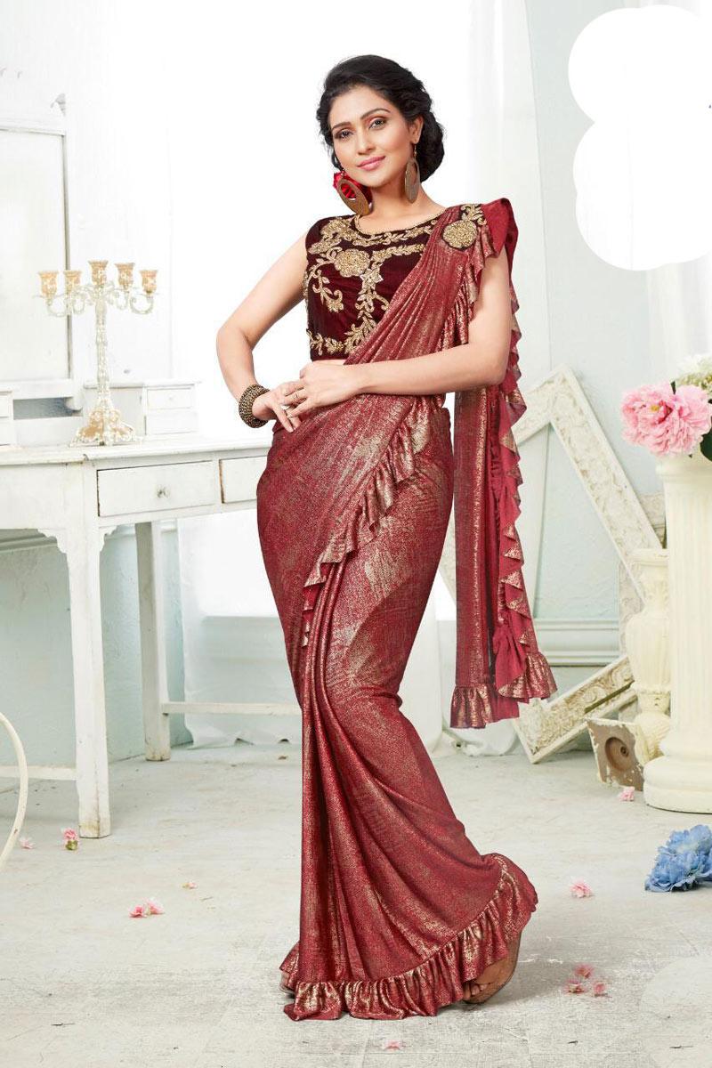 Designer One Minute Ruffle Saree In Fancy Fabric Maroon