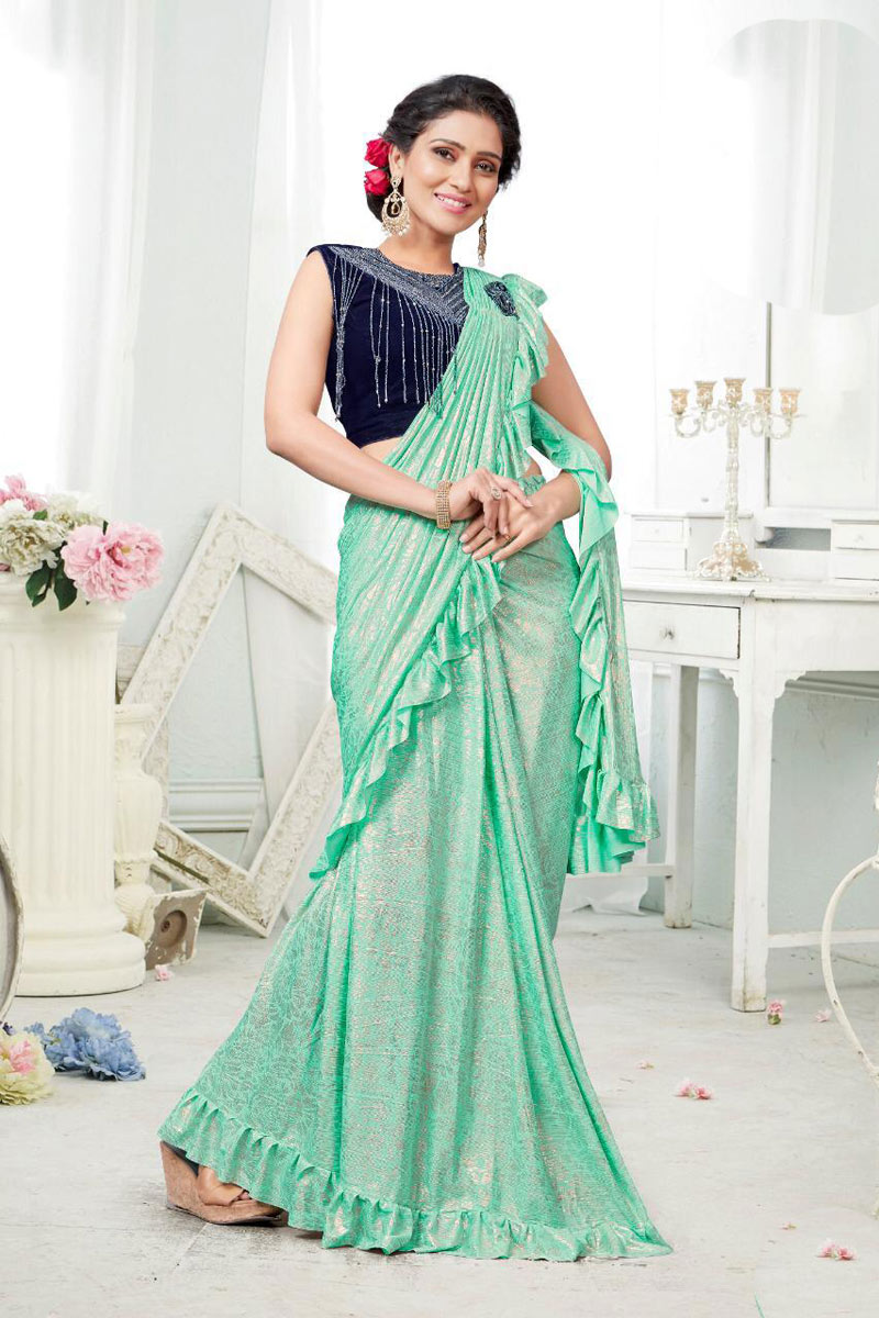 Fancy Fabric Wedding Wear Sea Green One Minute Ruffle Saree With Blouse
