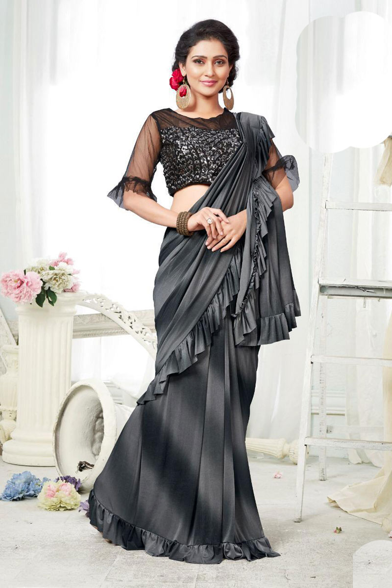 Black Fancy Fabric Designer One Minute Ruffle Saree With Blouse