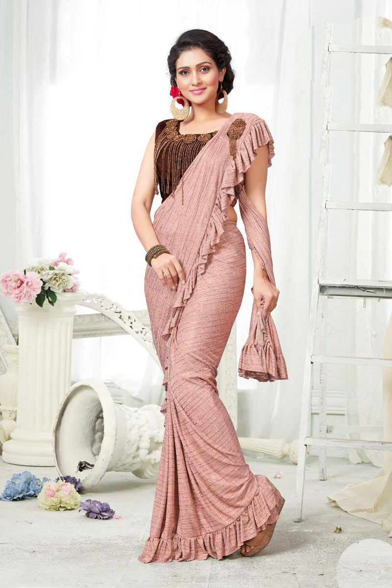 Fancy Fabric Sangeet Wear Peach One Minute Ruffle Saree With Blouse