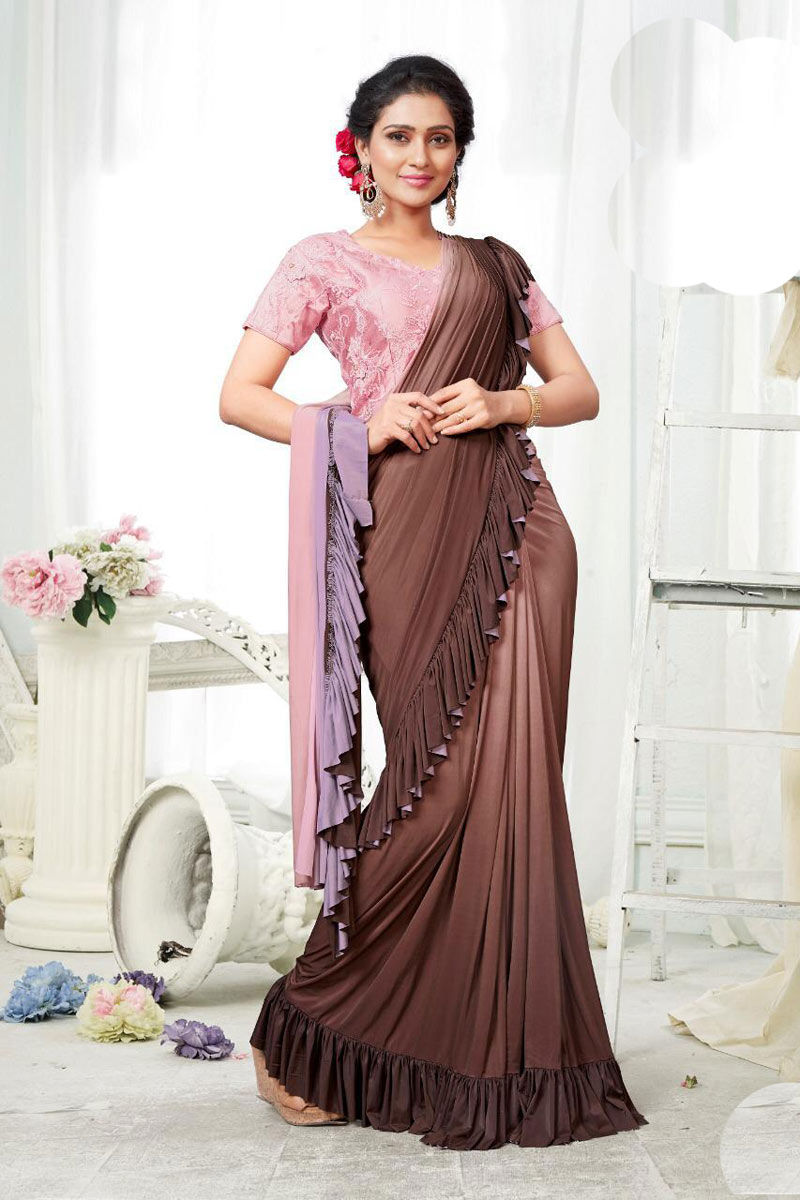 Reception Wear One Minute Ruffle Saree In Fancy Fabric Brown