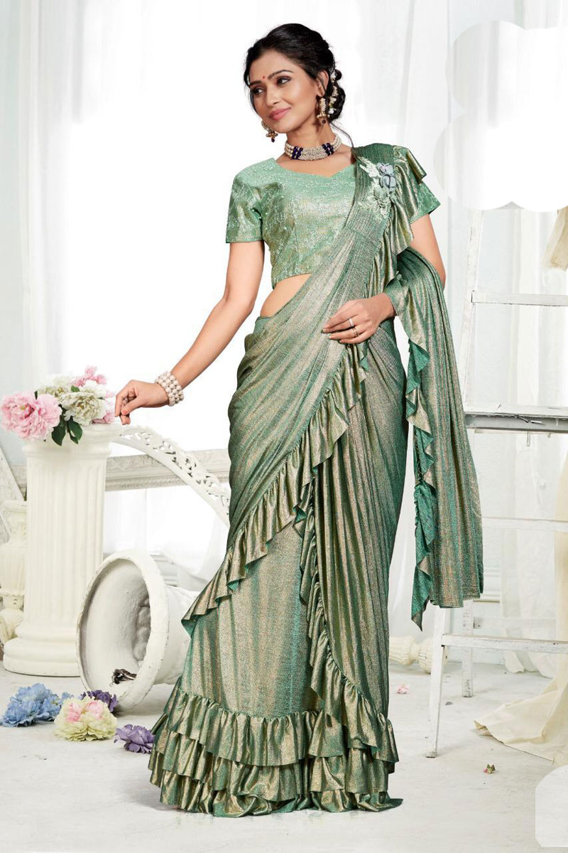 Teal Fancy Fabric Party Wear One Minute Ruffle Saree With Blouse