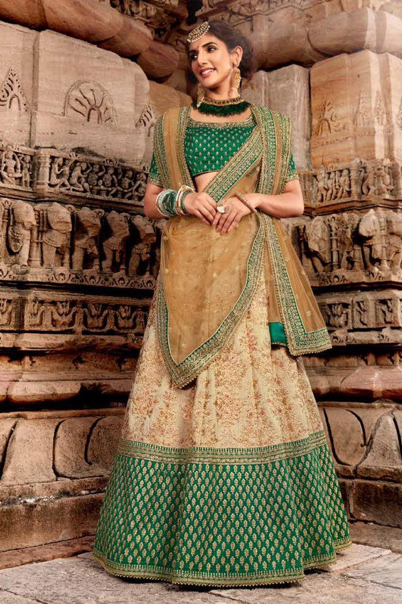 Embroidery Work On Cream Color Designer Lehenga In Net Fabric With Blouse