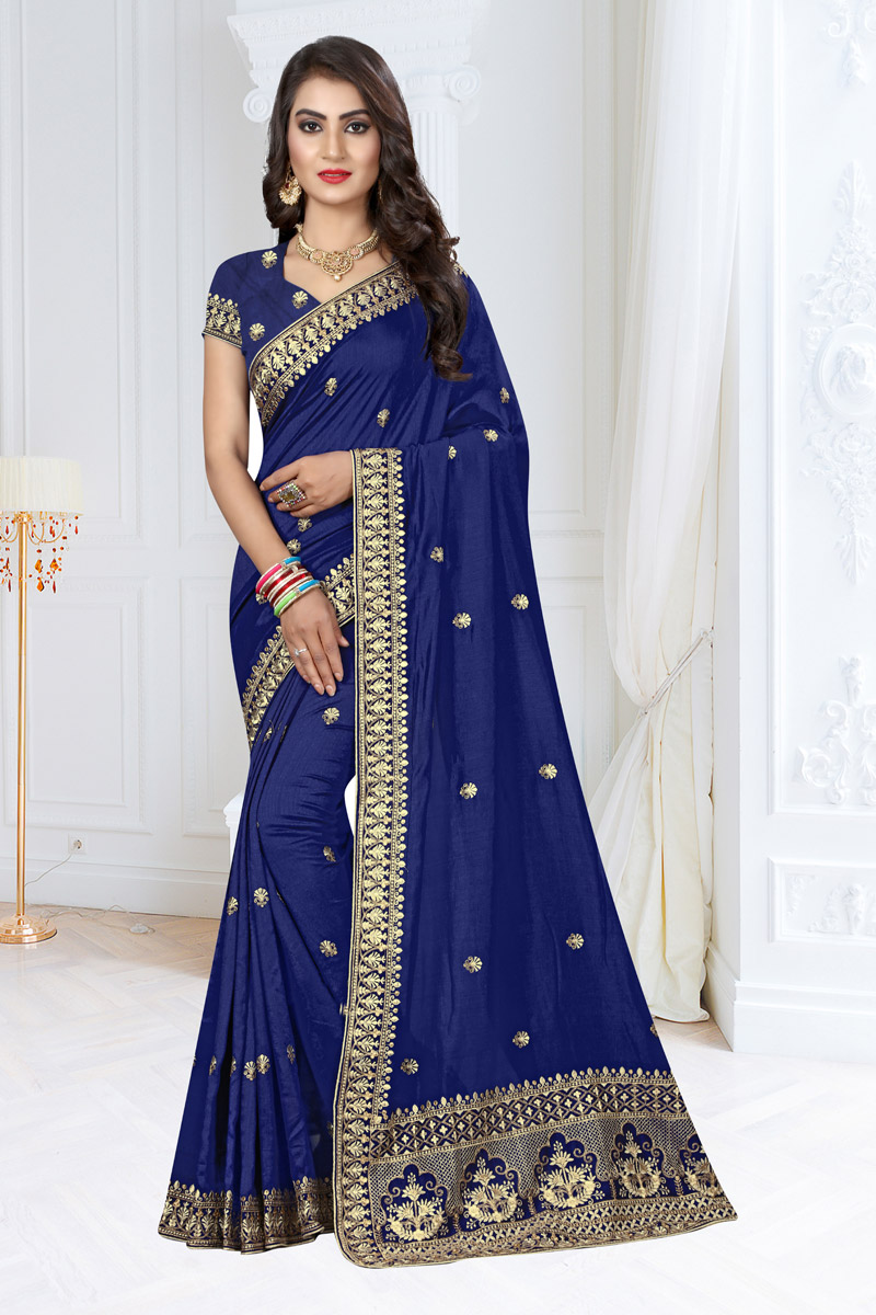 Navy Blue Embroidery Work On Party Wear Saree In Art Silk Fabric With Fancy Blouse