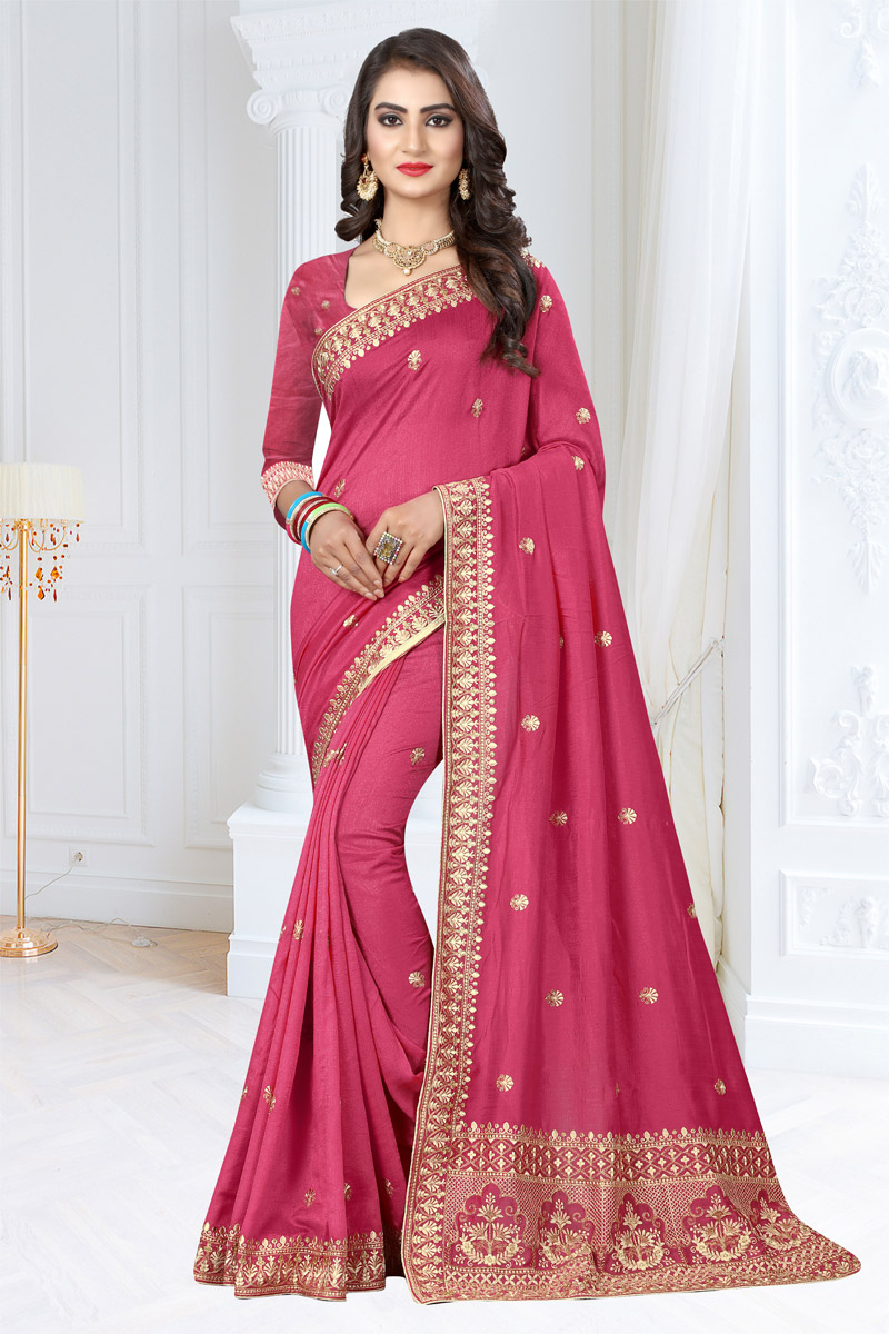 Art Silk Fabric Pink Color Wedding Wear Saree With Embroidery Work And Gorgeous Blouse