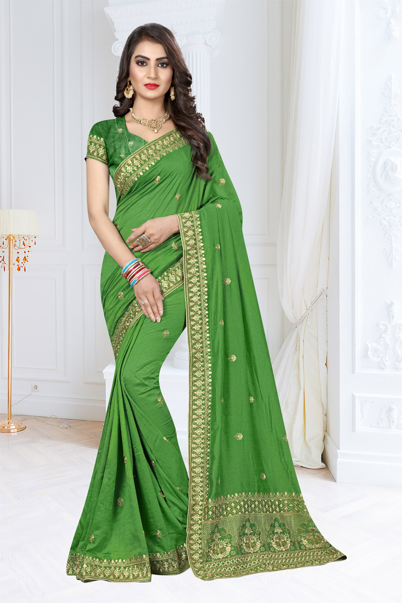 Embroidery Work On Reception Wear Saree In Green Art Silk Fabric With Charming Blouse
