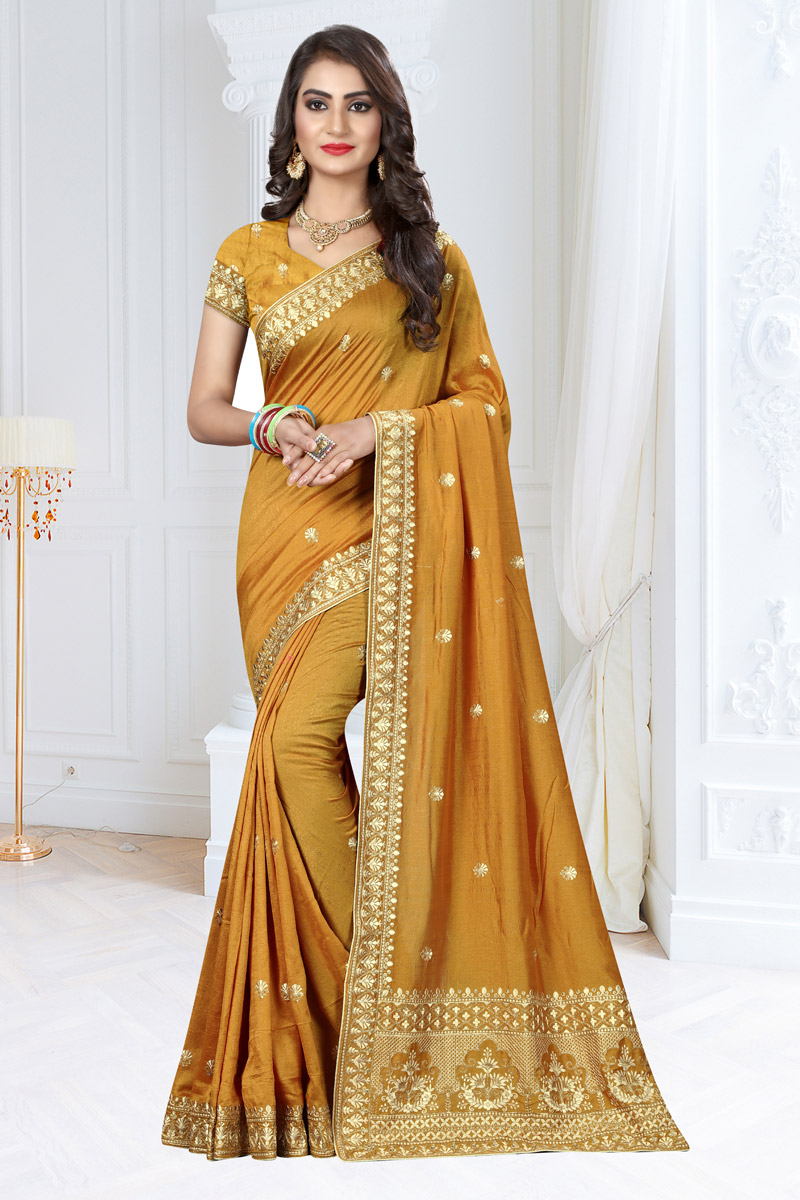 Embroidery Work On Art Silk Fabric Designer Saree In Mustard Color With Admirable Blouse