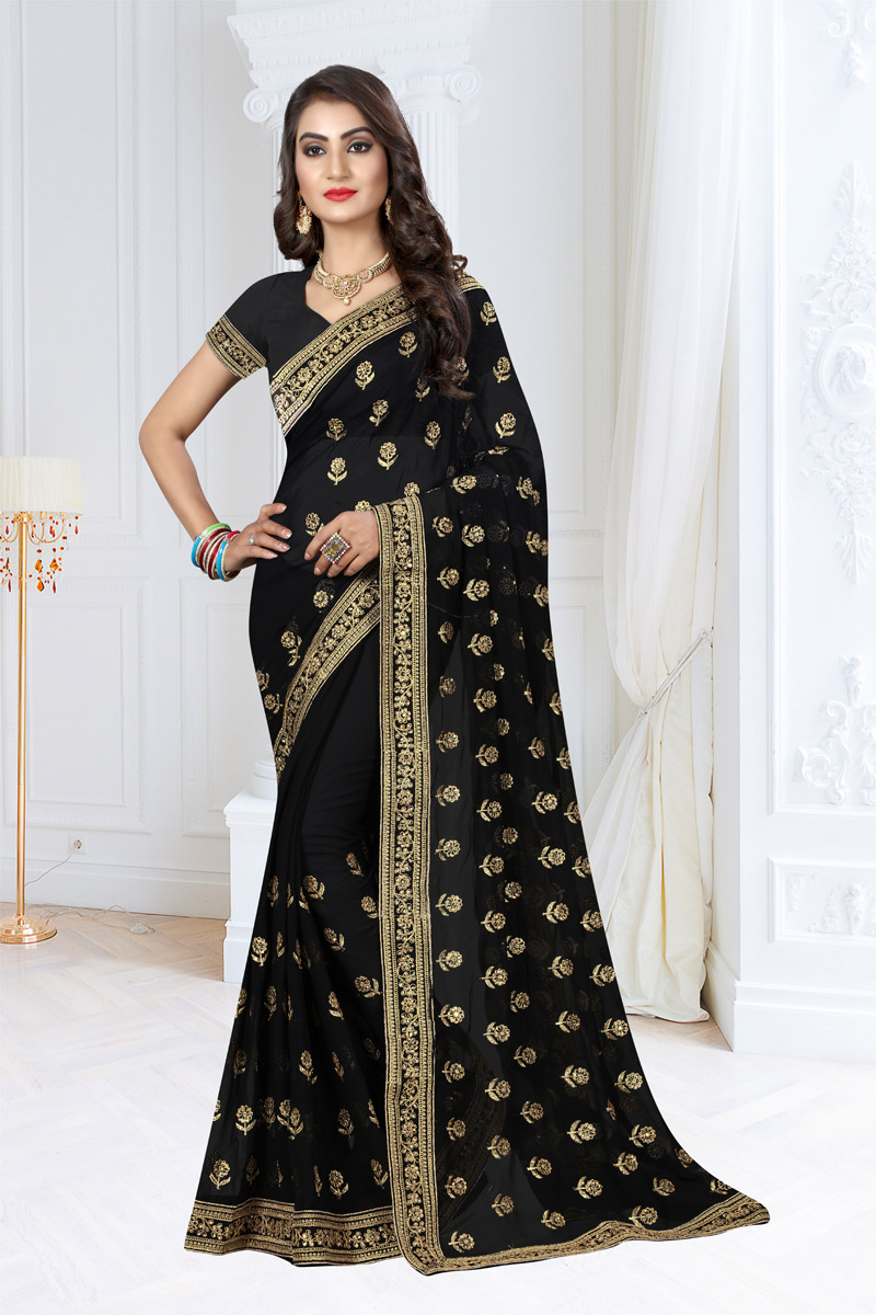 Georgette Fabric Party Wear Saree In Black With Embroidery Work And Beautiful Blouse