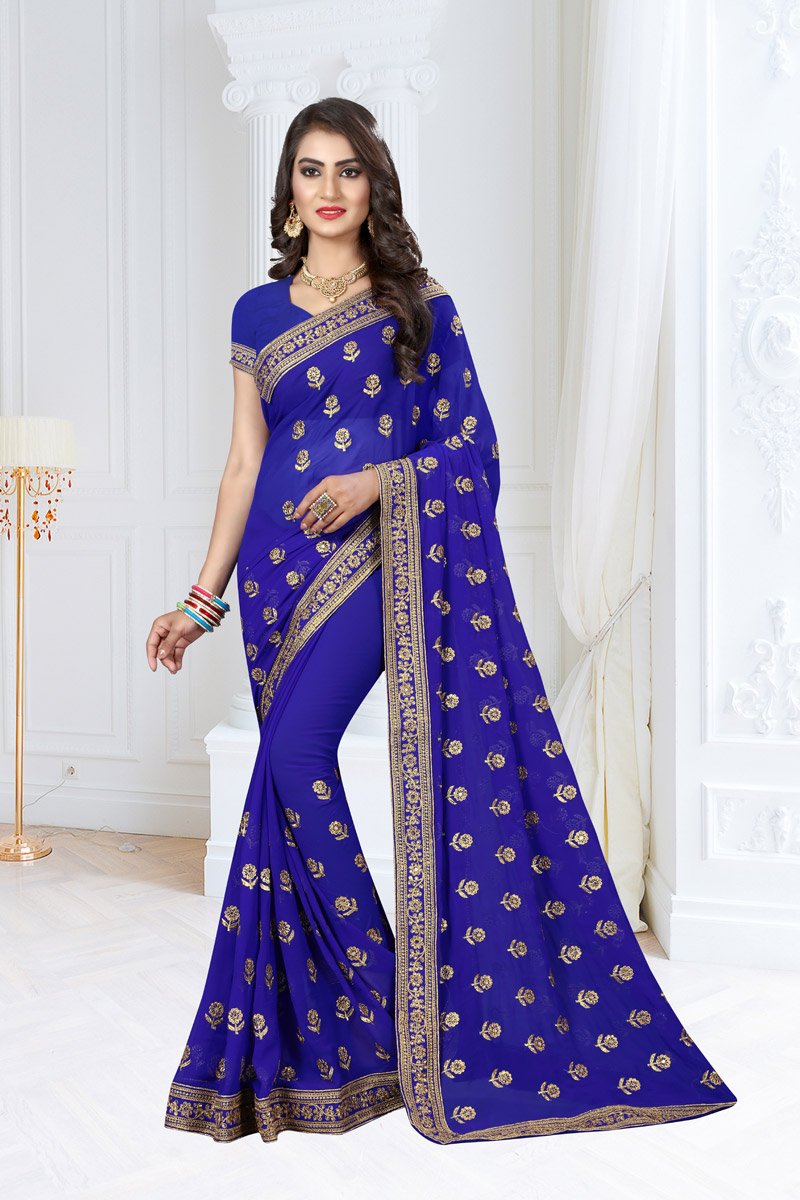 Blue Georgette Fabric Festive Wear Saree With Embroidery Work And Attractive Blouse