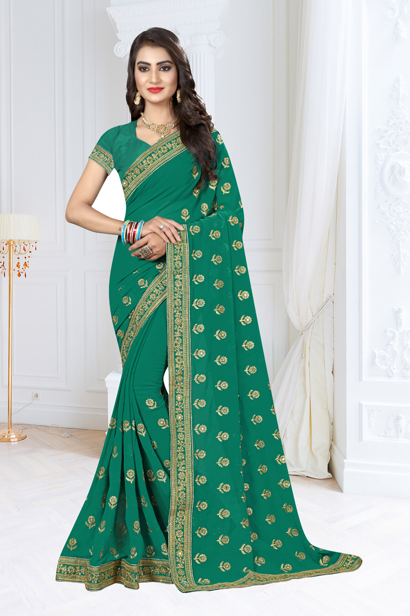 Occasion Wear Teal Embroidered Saree In Georgette Fabric With Designer Blouse