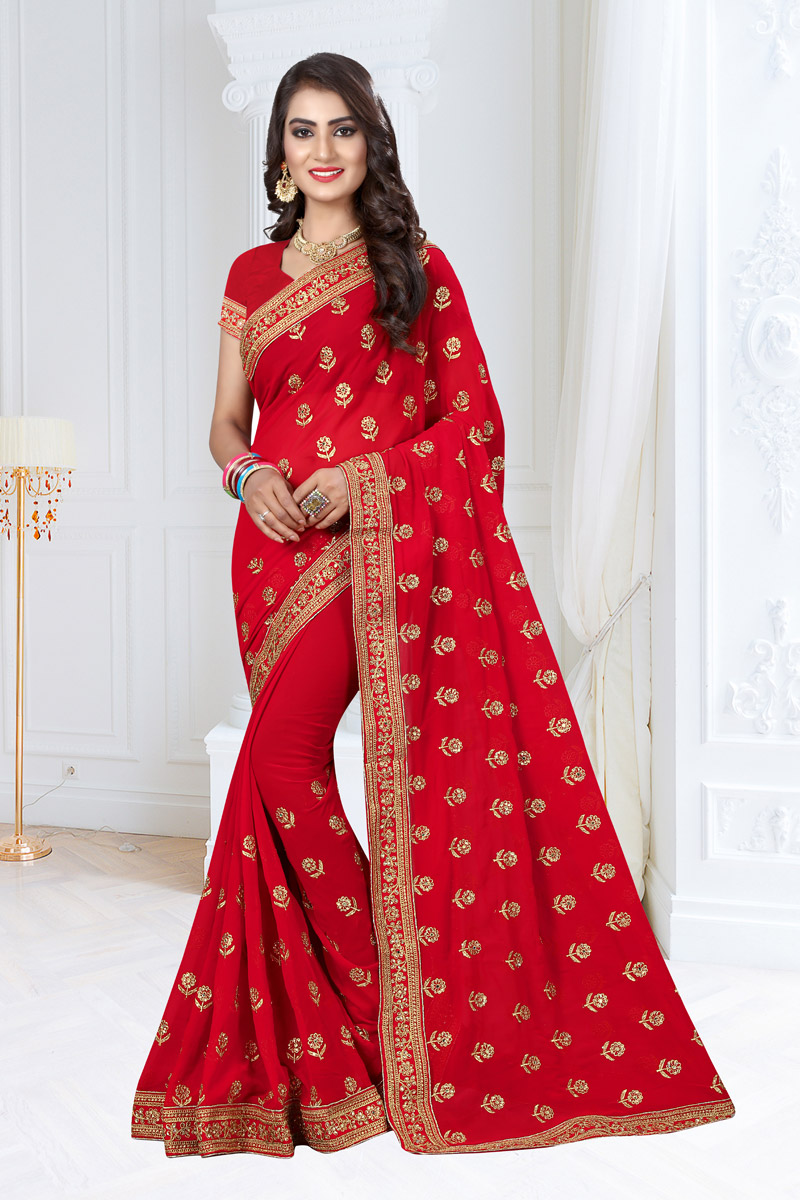 Embroidery Work On Red Georgette Fabric Function Wear Saree With Marvelous Blouse