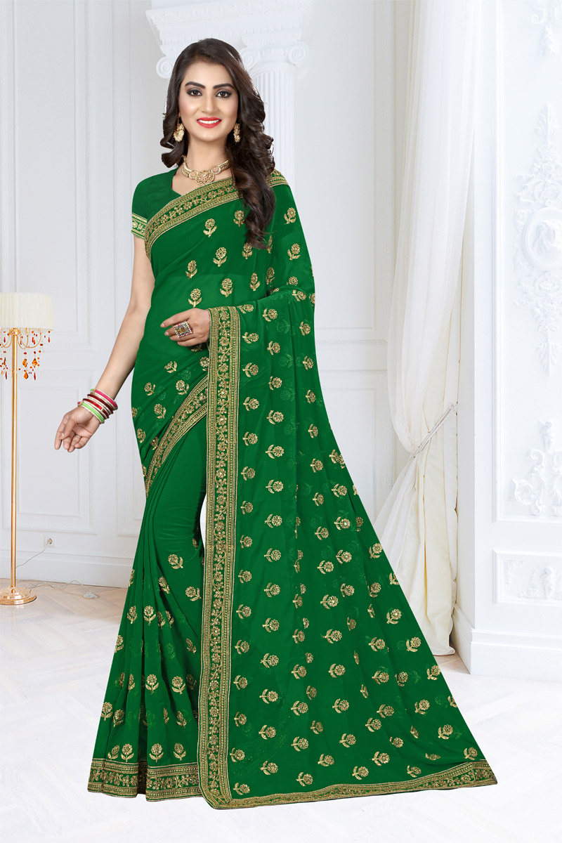 Georgette Fabric Green Wedding Wear Saree With Embroidery Work And Gorgeous Blouse