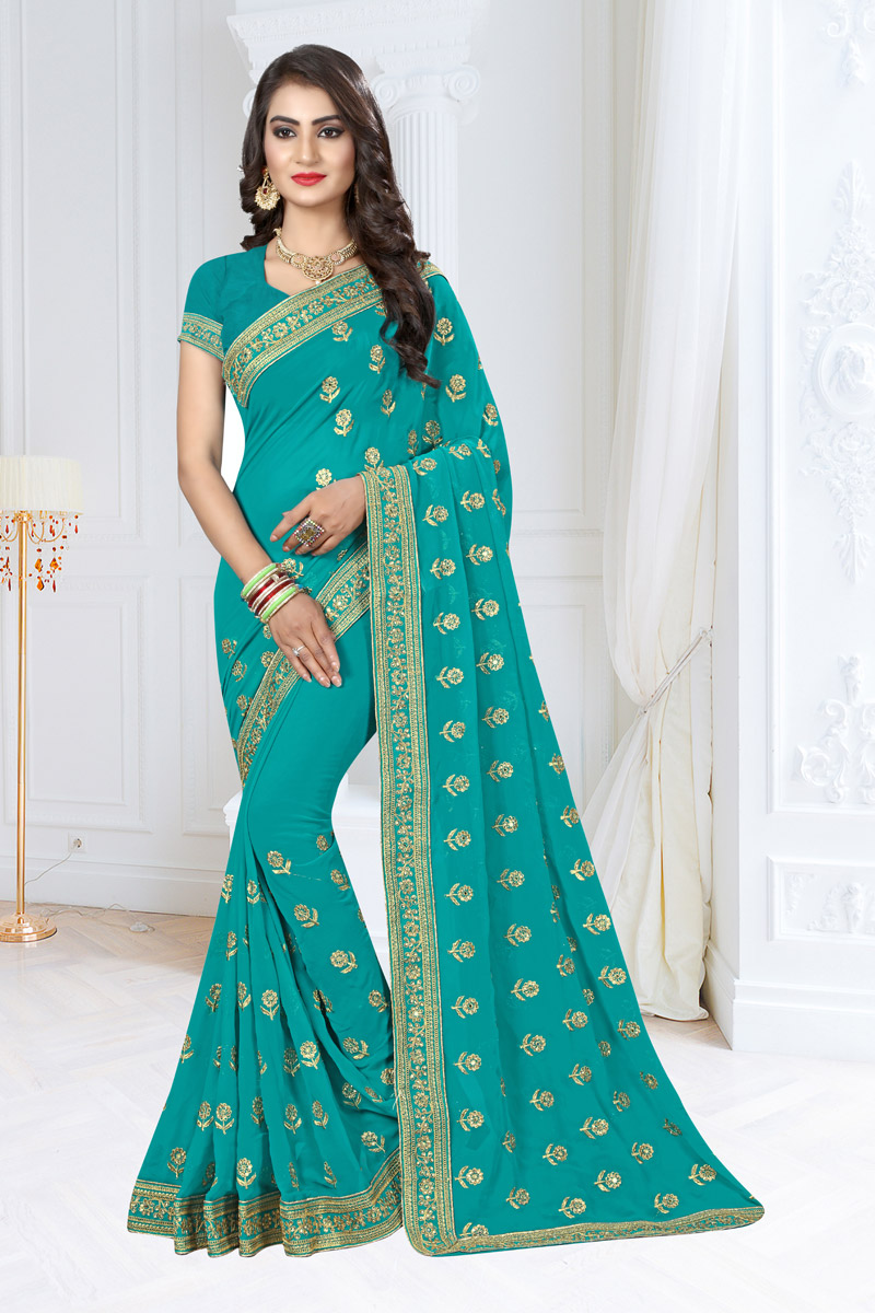 Cyan Embroidery Designs On Georgette Fabric Reception Wear Saree With Attractive Blouse