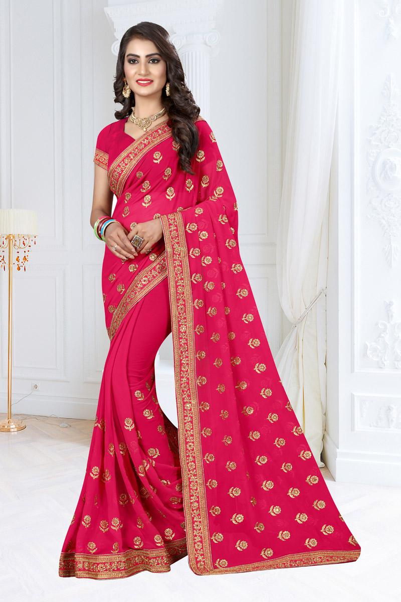 Rani Georgette Fabric Embroidered Designer Saree With Designer Blouse