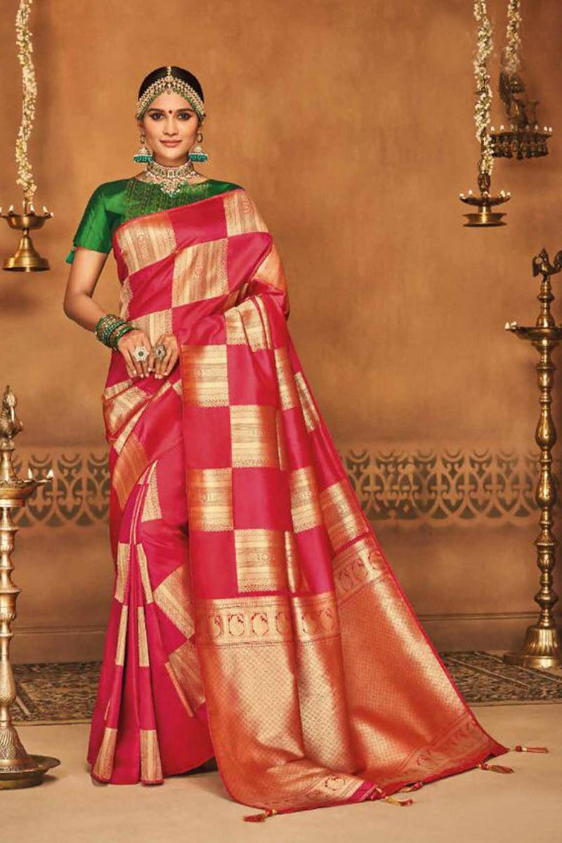 Sangeet Wear Designer Traditional Saree In Art Silk Red With Weaving Work