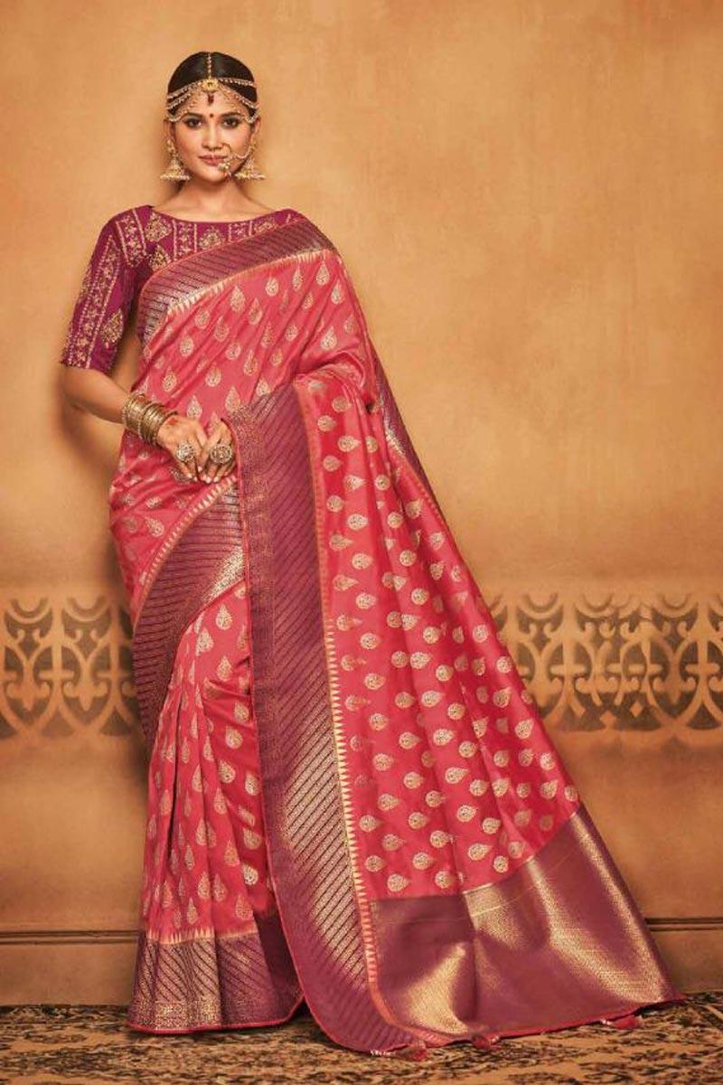 Designer Function Wear Pink Traditional Art Silk Saree With Weaving Work