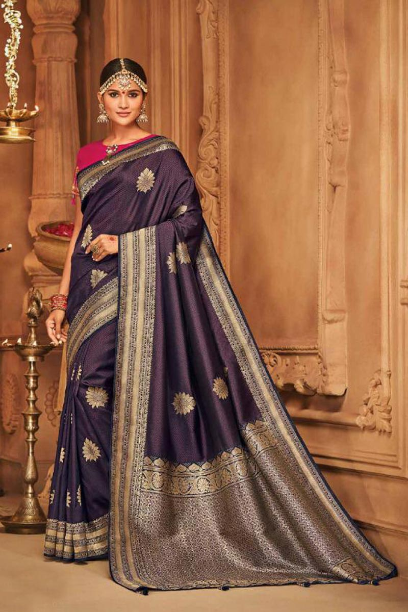 Wine Color Sangeet Wear Art Silk Designer Traditional Saree With Weaving Work