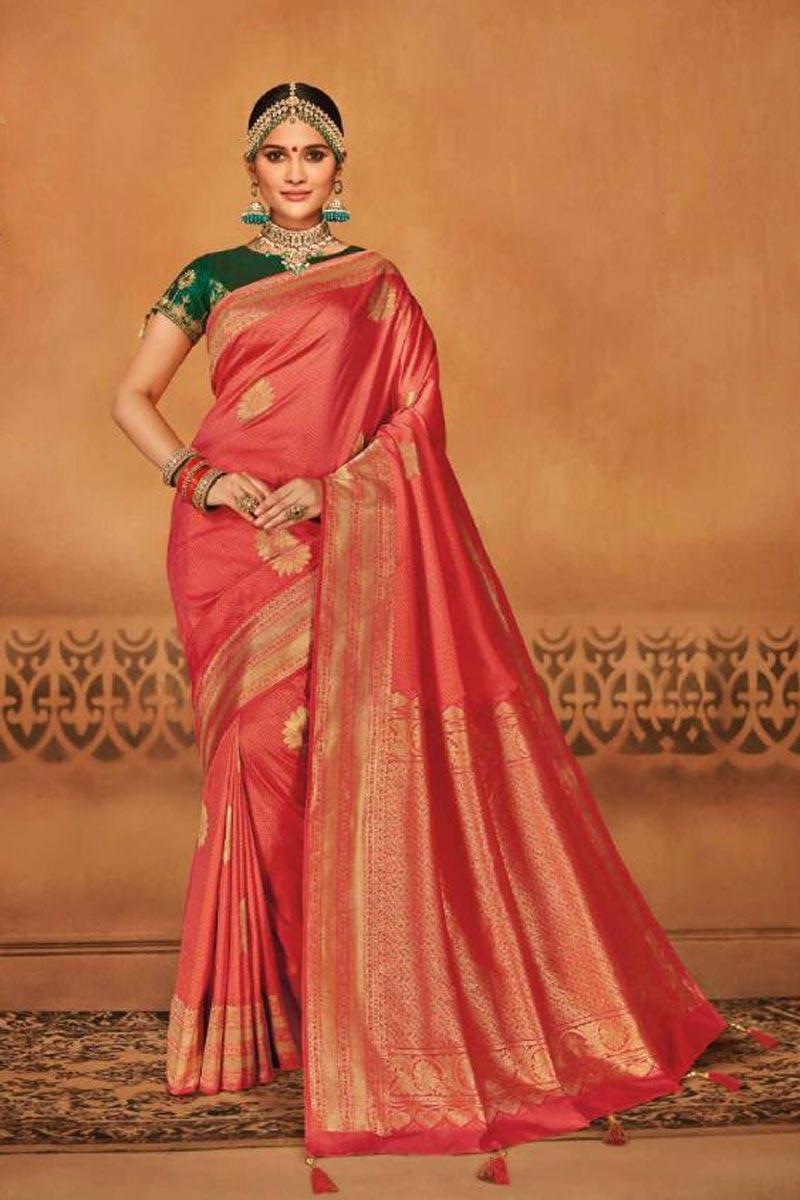 Function Wear Art Silk Peach Designer Saree With Weaving Work