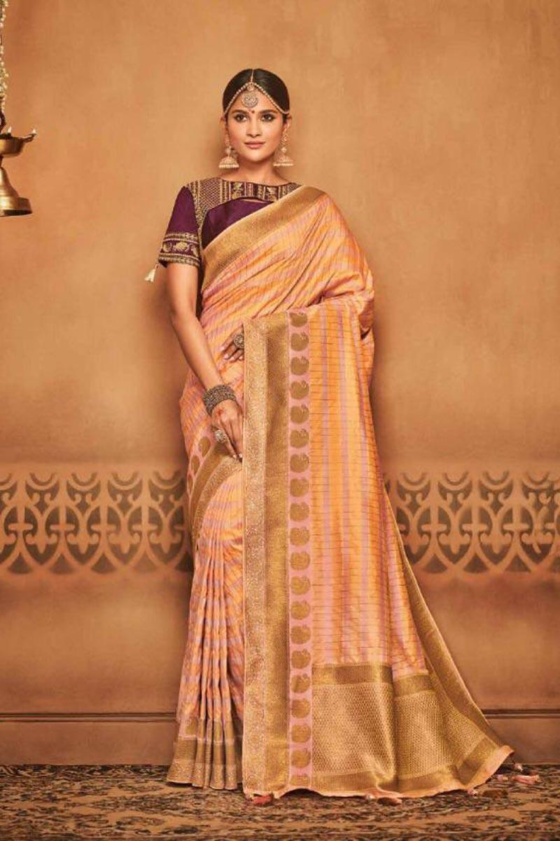 Reception Wear Pink Art Silk Designer Traditional Saree With Weaving Work