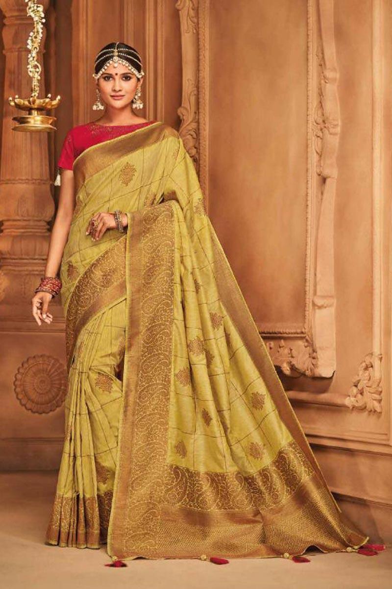 Sangeet Wear Designer Traditional Saree In Beige Art Silk With Weaving Work