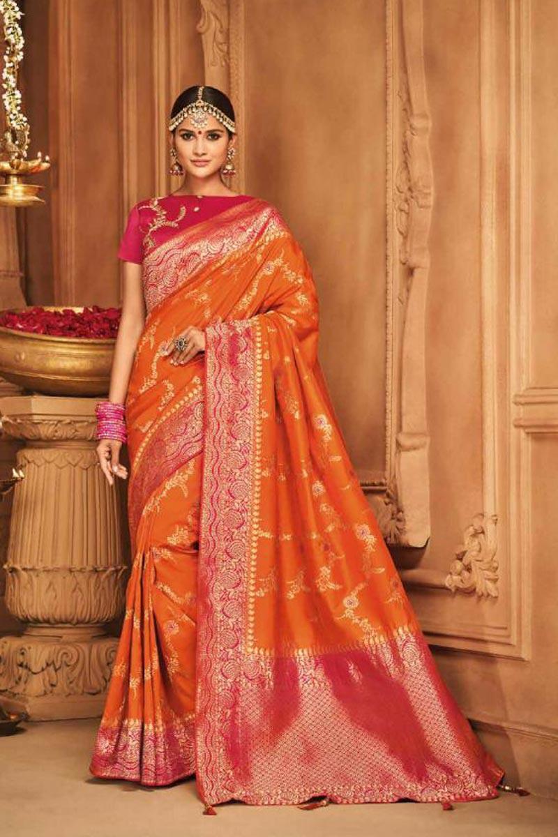 Designer Function Wear Art Silk Traditional Orange Saree With Weaving Work