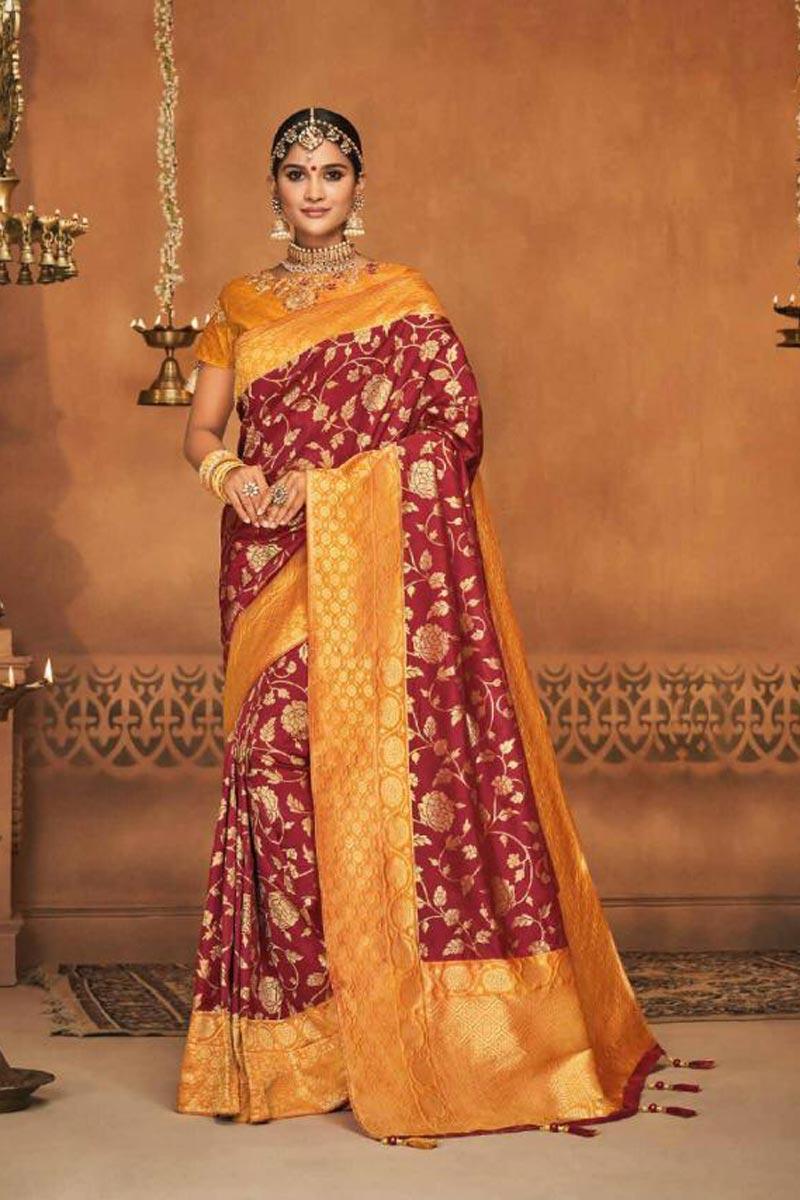 Eid Special Sangeet Wear Designer Traditional Saree In Maroon Art Silk With Weaving Work