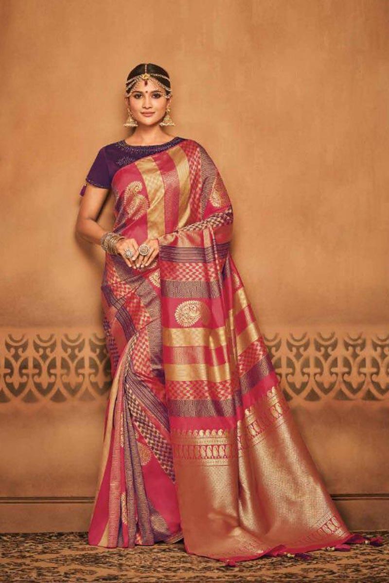 Function Wear Pink Art Silk Designer Saree With Weaving Work