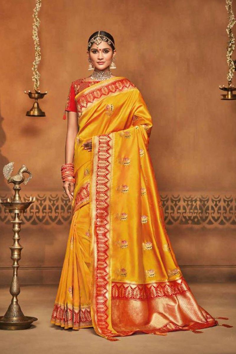 Reception Wear Art Silk Mustard Designer Traditional Saree With Weaving Work
