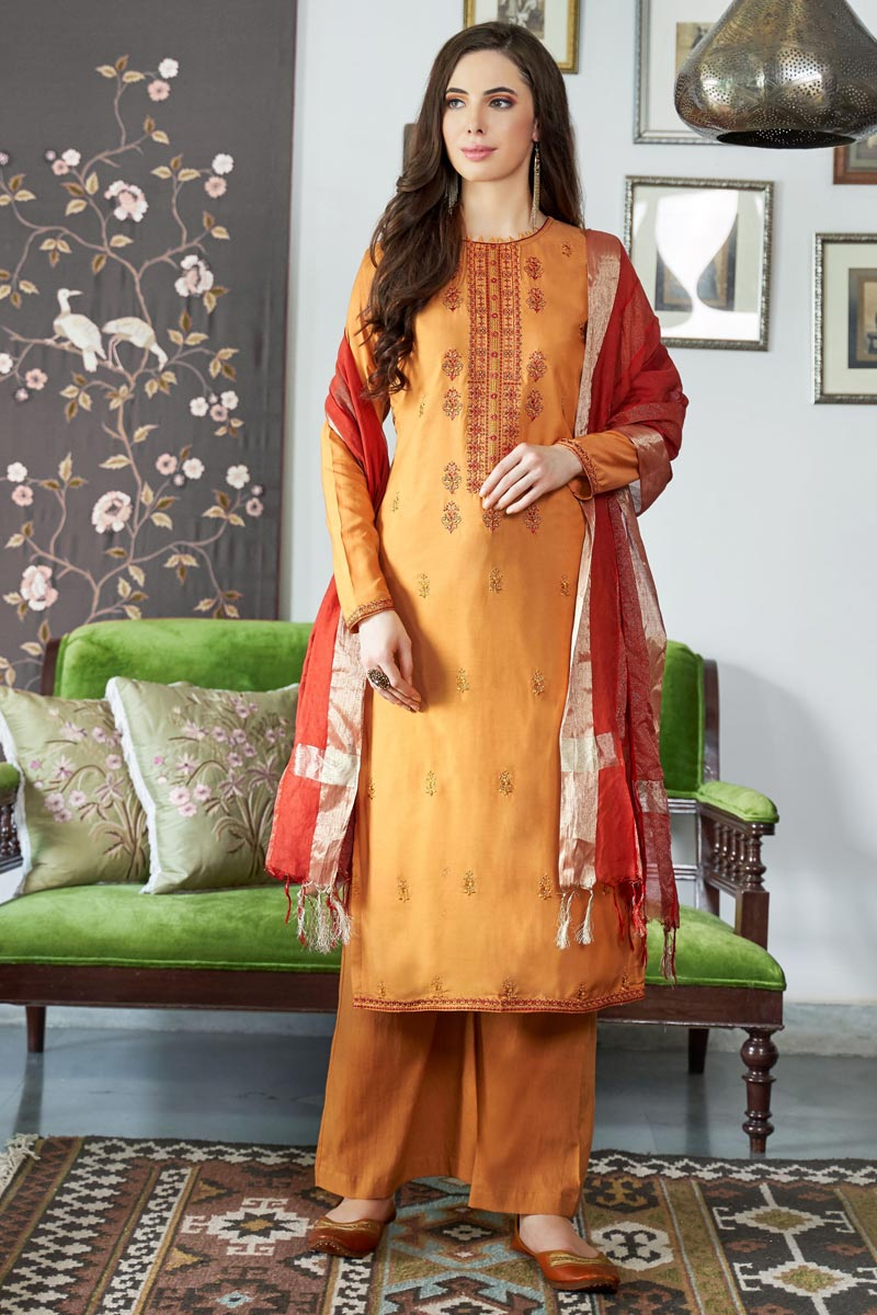 Viscose Fabric Festive Wear Fancy Embroidered Palazzo Suit In Orange