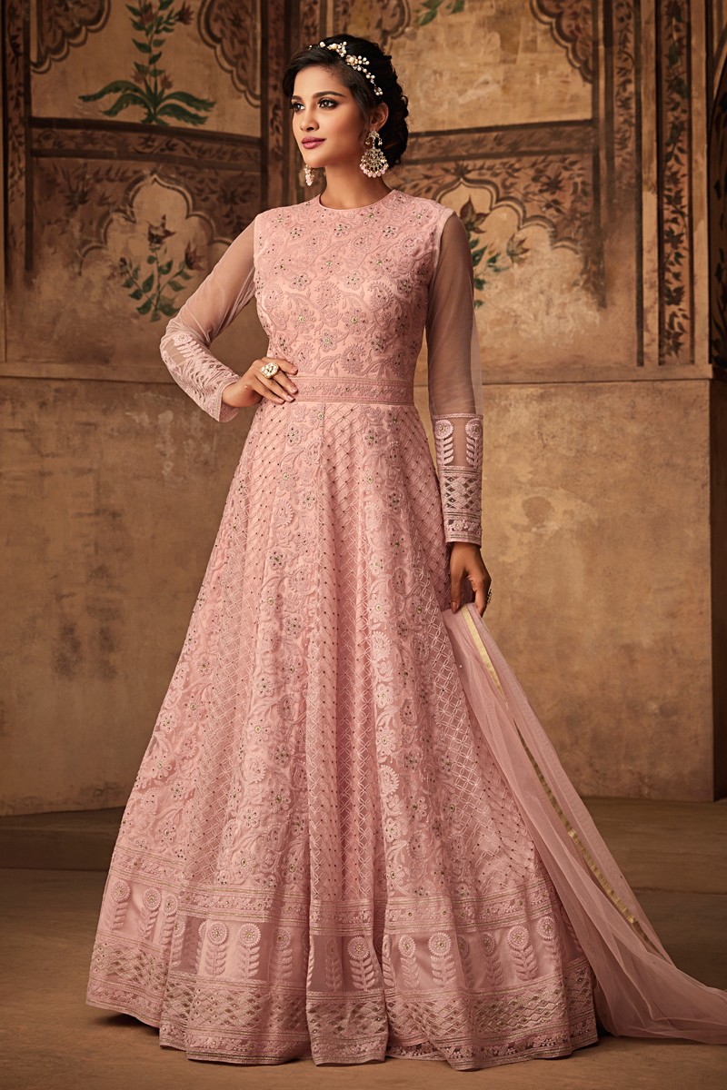 Eid Special Net Fabric Designer Anarkali Salwar Suit In Pink With Embroidery Work