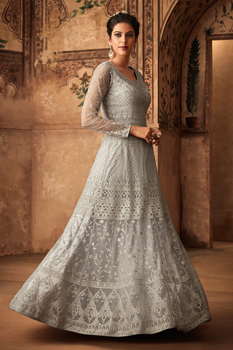 Eid Special Grey Net Fabric Function Wear Anarkali Suit With Embroidery Work