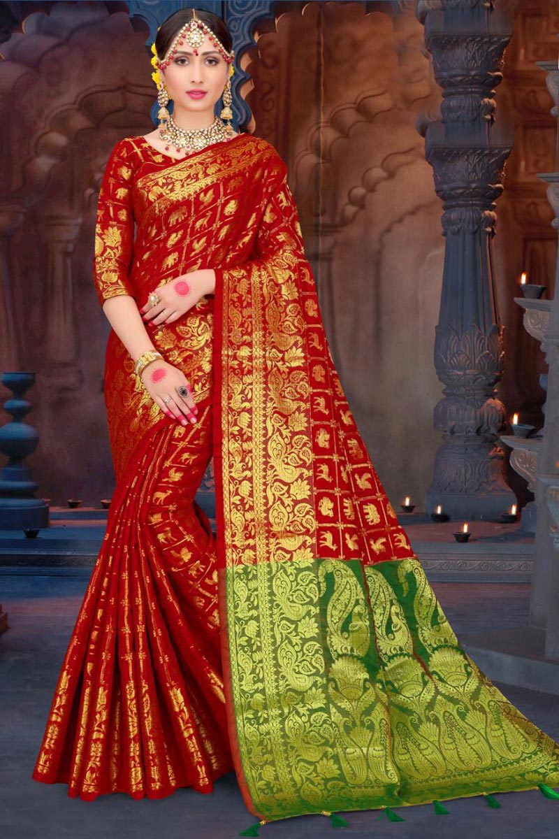 Fancy Art Silk Red Traditional Patola Style Saree