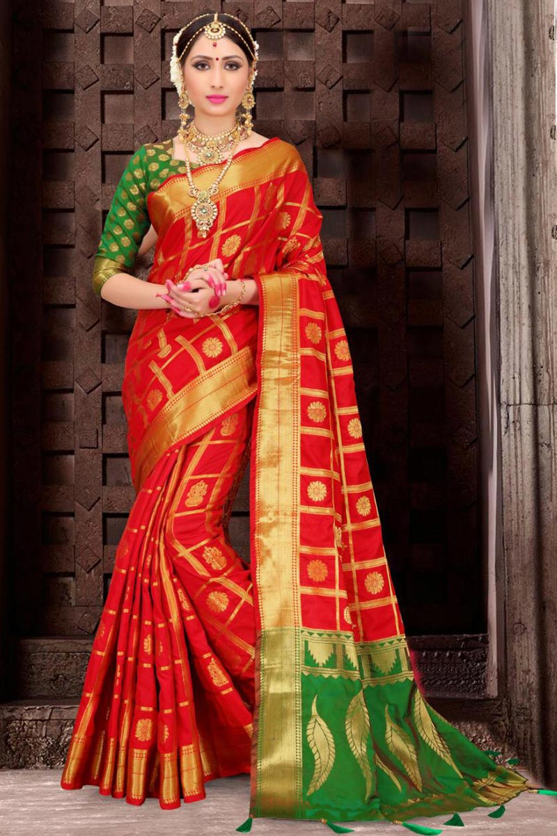 Patola Style Art Silk Traditional Red Fancy Saree