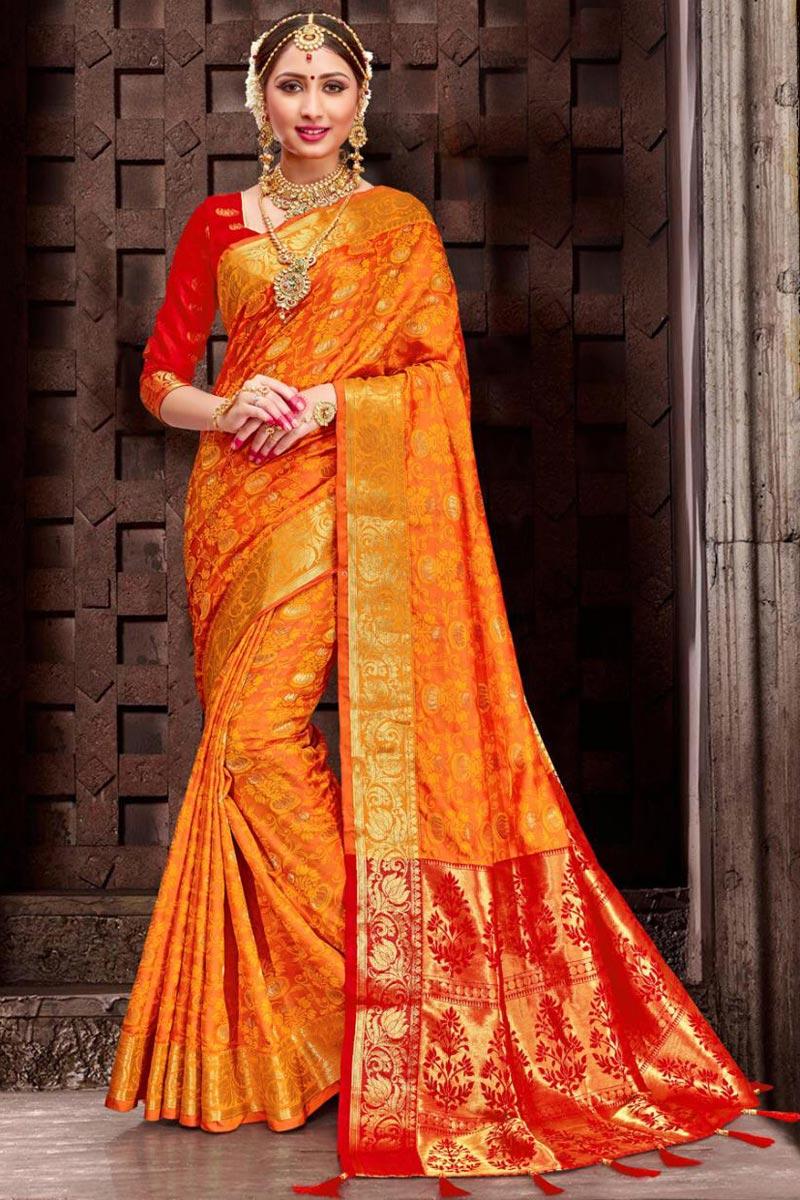 Art Silk Orange Traditional Patola Style Saree
