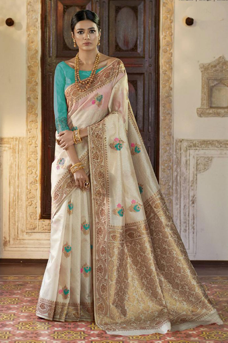 Weaving Work On Occasion Wear Saree In Beige