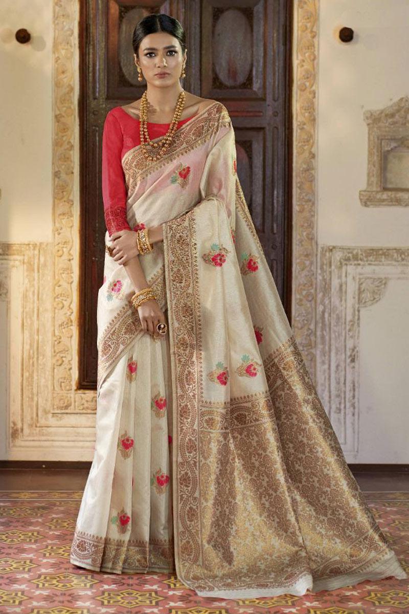 Beige Art Silk Fabric Wedding Wear Saree With Weaving Work