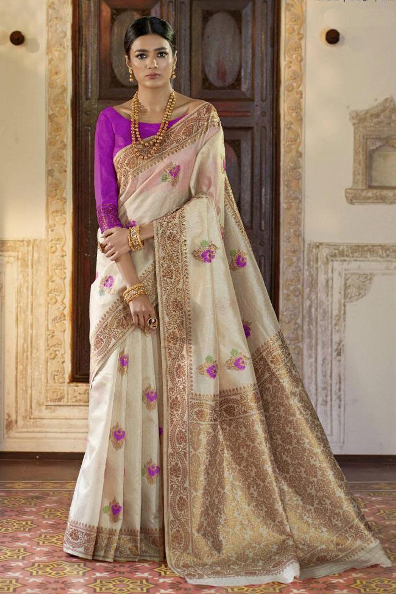 Reception Wear Weaving Work Saree In Art Silk Fabric Beige