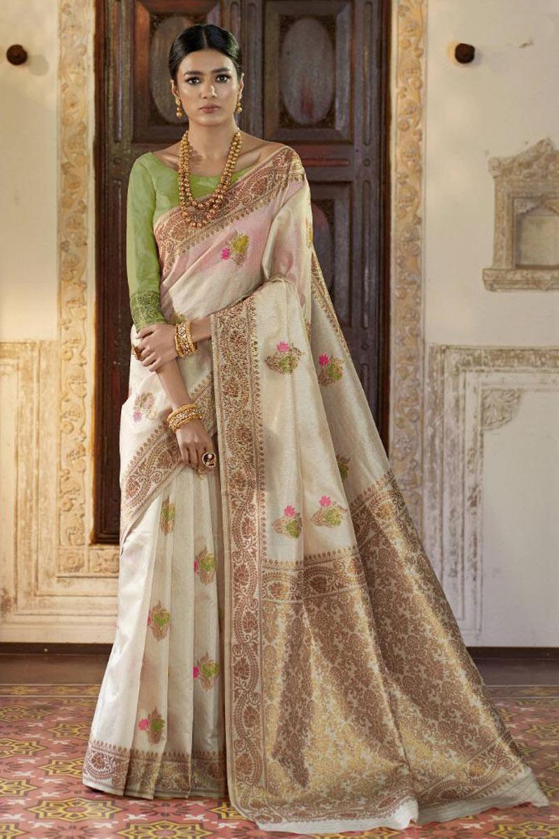 Beige Color Fancy Weaving Work Party Wear Saree In Art Silk Fabric