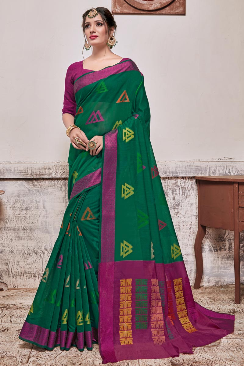 Teal Color Cotton Silk Fabric Puja Wear Designer Weaving Work Saree