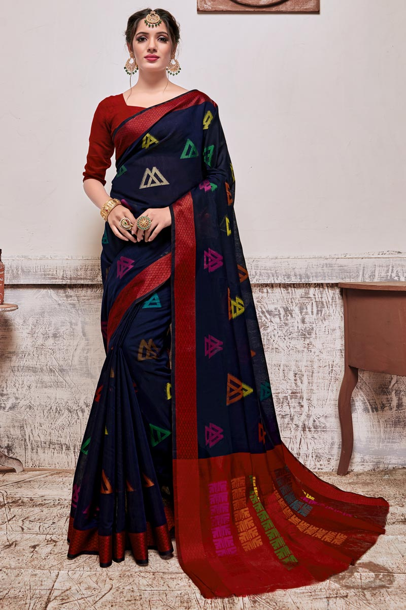 Navy Blue Color Puja Wear Designer Cotton Silk Fabric Weaving Work Saree