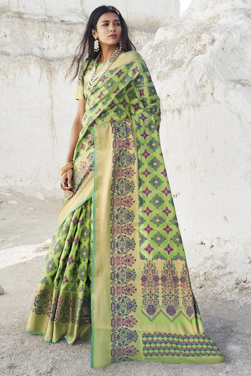 Designer Puja Wear Art Silk Fabric Weaving Work Saree In Sea Green