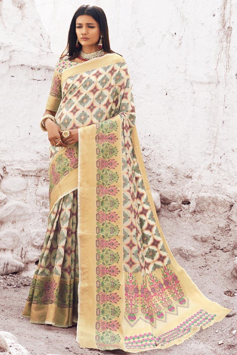 Off White Puja Wear Designer Weaving Work Saree In Art Silk Fabric