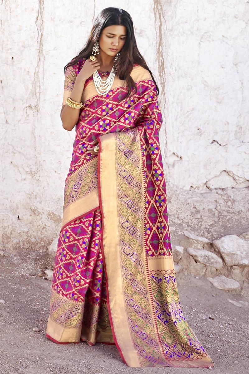 Puja Wear Art Silk Fabric Rani Color Designer Weaving Work Saree