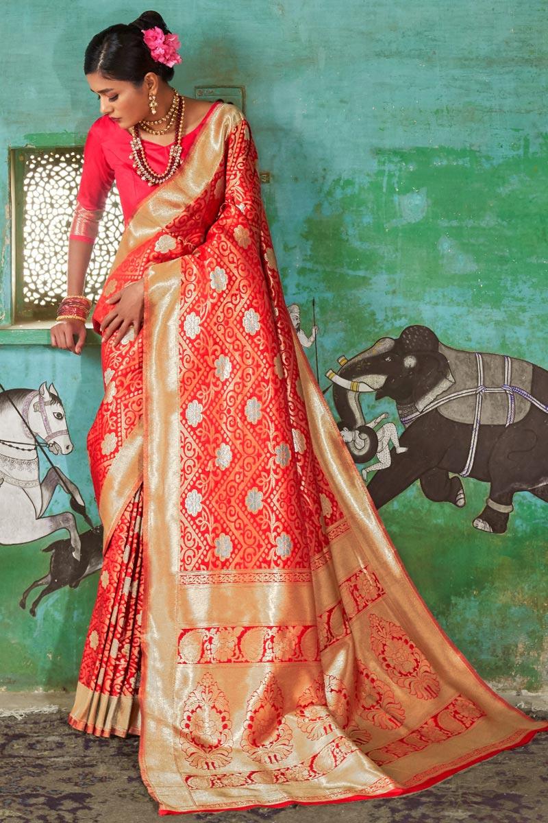 Sangeet Wear Fancy Red Weaving Work Saree In Art Silk