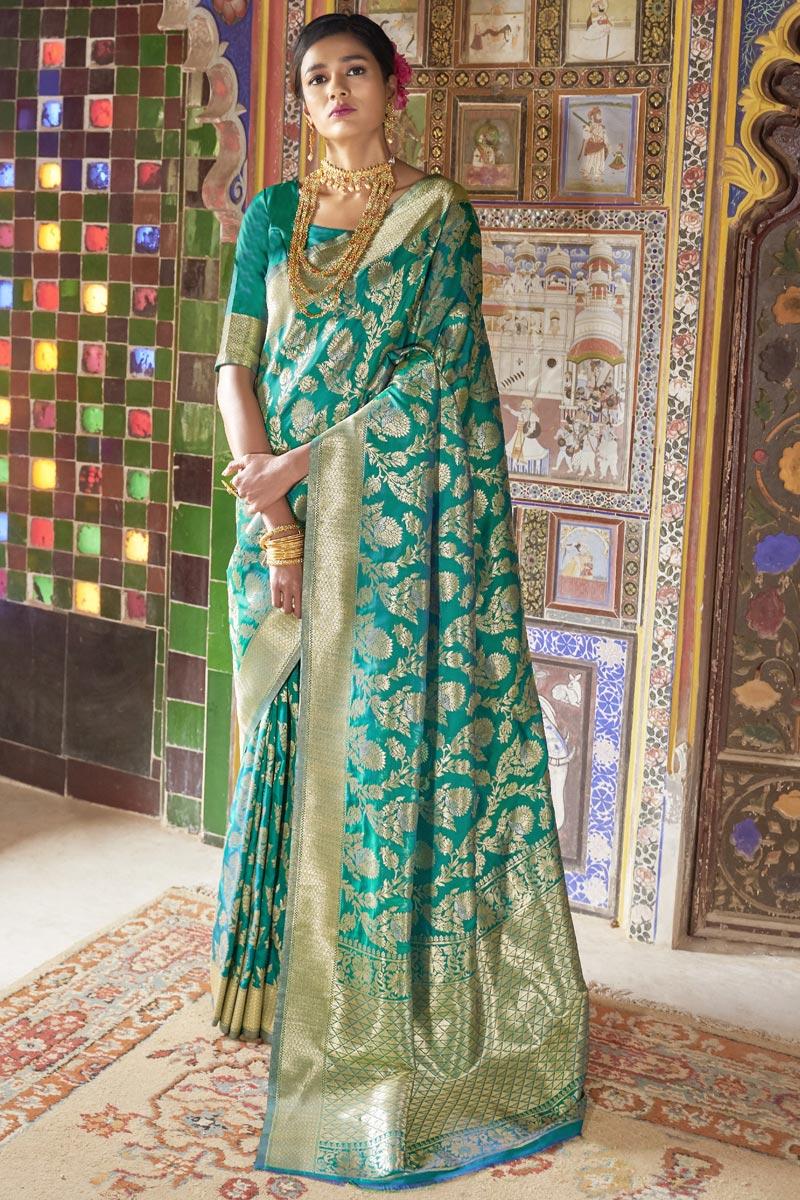 Art Silk Sangeet Wear Fancy Weaving Designs Teal Saree