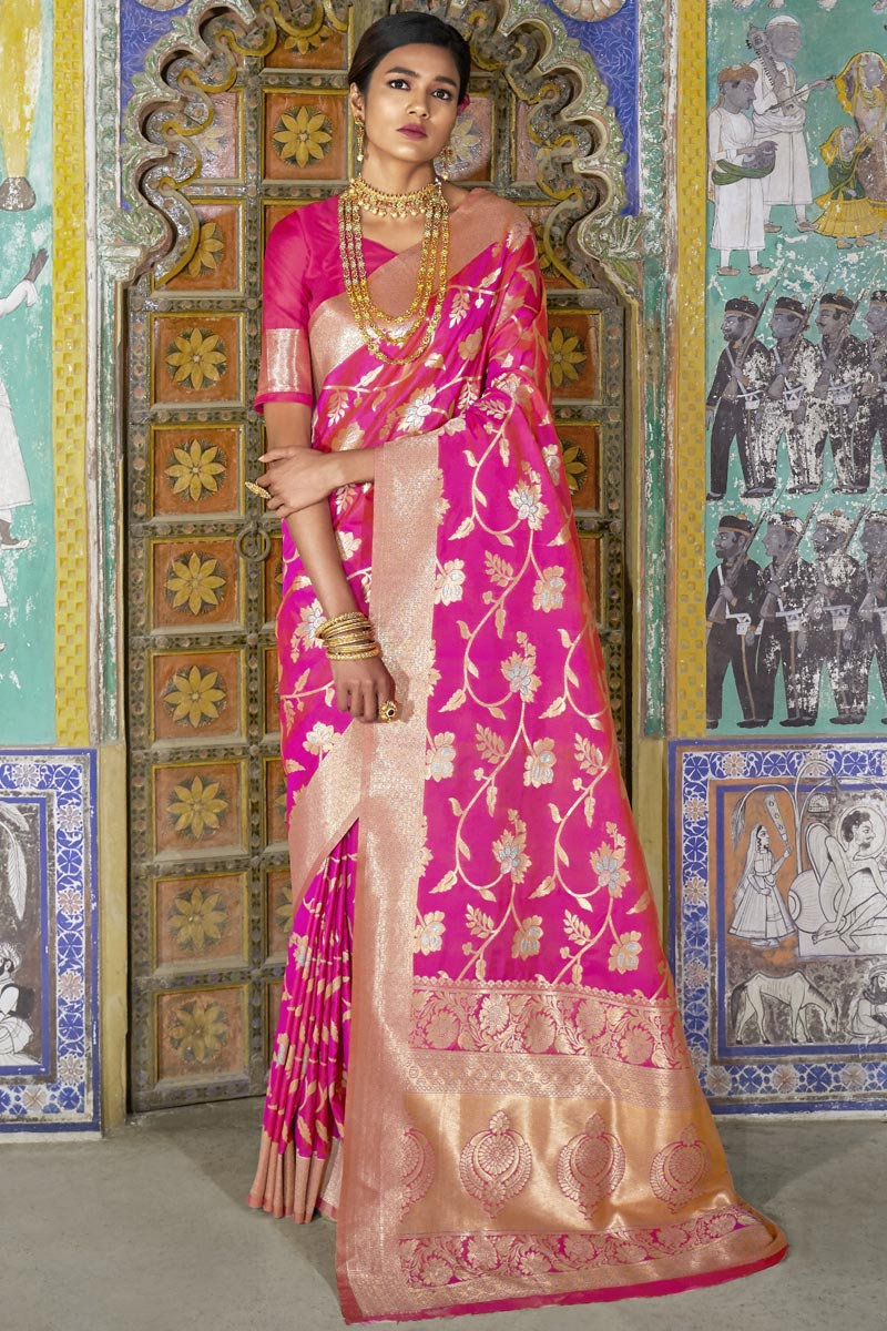 Magenta Art Silk Sangeet Wear Fancy Saree With Weaving Designs