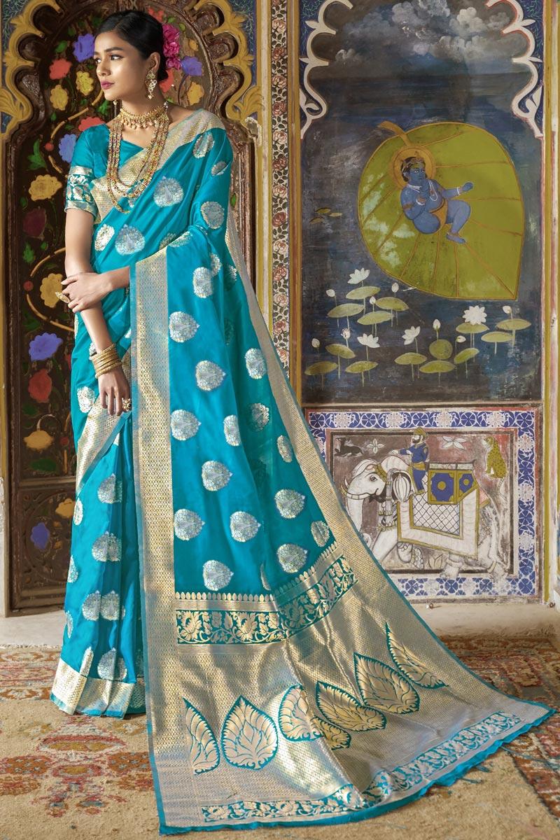 Art Silk Sangeet Wear Fancy Cyan Weaving Work Saree