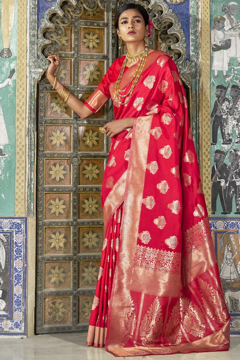 Red Sangeet Wear Fancy Weaving Designs Art Silk Saree
