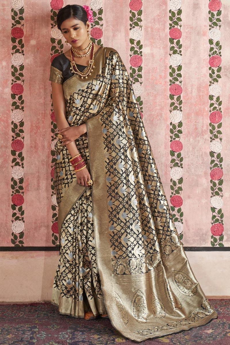 Art Silk Black Sangeet Wear Fancy Saree With Weaving Designs